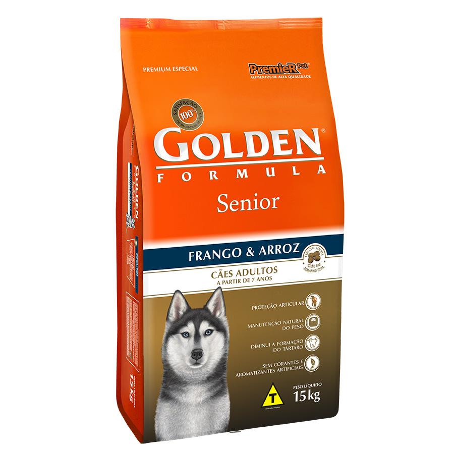 Ração Golden Fórmula para Cães Idoso/Senior Sabor Frango e Arroz - 15kg