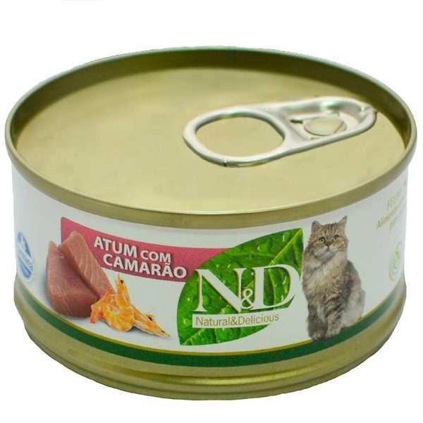 Ração Úmida N&D Lata Gatos - Atum com Camarão