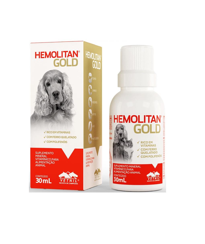 Suplemento Mineral Vitamínico Hemolitan Gold 30 ml Vetnil