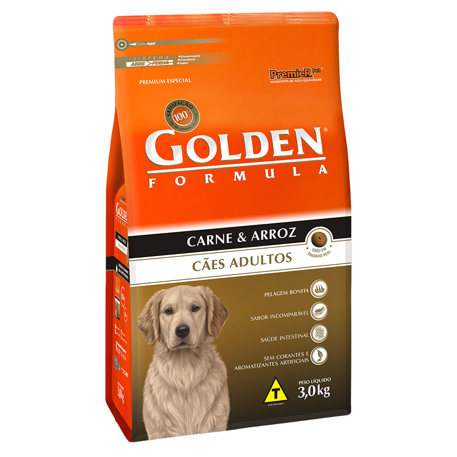Ração Golden Fórmula para Cães Adultos Sabor Carne e Arroz - 3,0 Kg