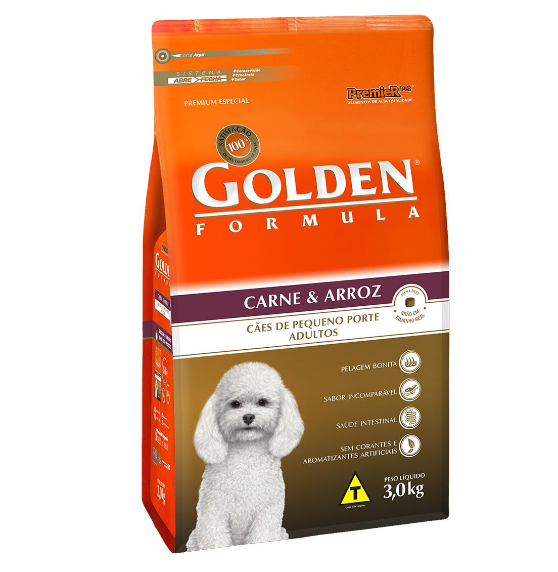 Ração Golden Fórmula Para Cães Adultos de Pequeno Porte Sabor Carne e Arroz - 3,0 Kg
