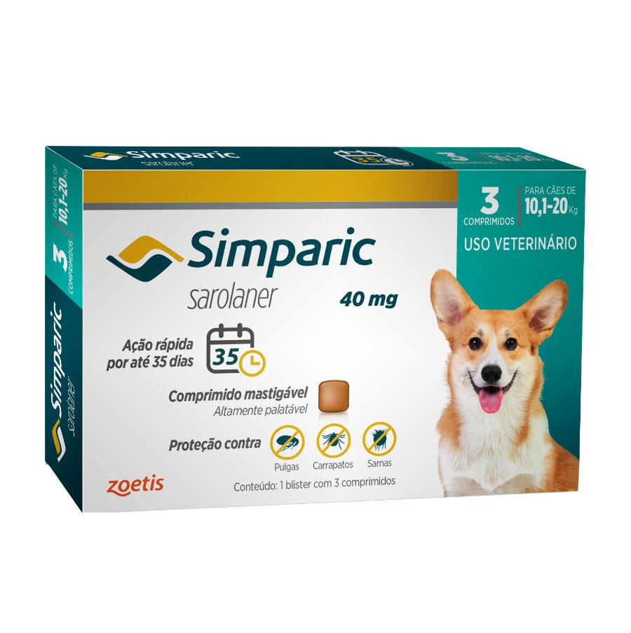 Antipulgas e Carrapatos Simparic 40 mg/10,1 a 20 Kg com 3 comprimidos - Zoetis