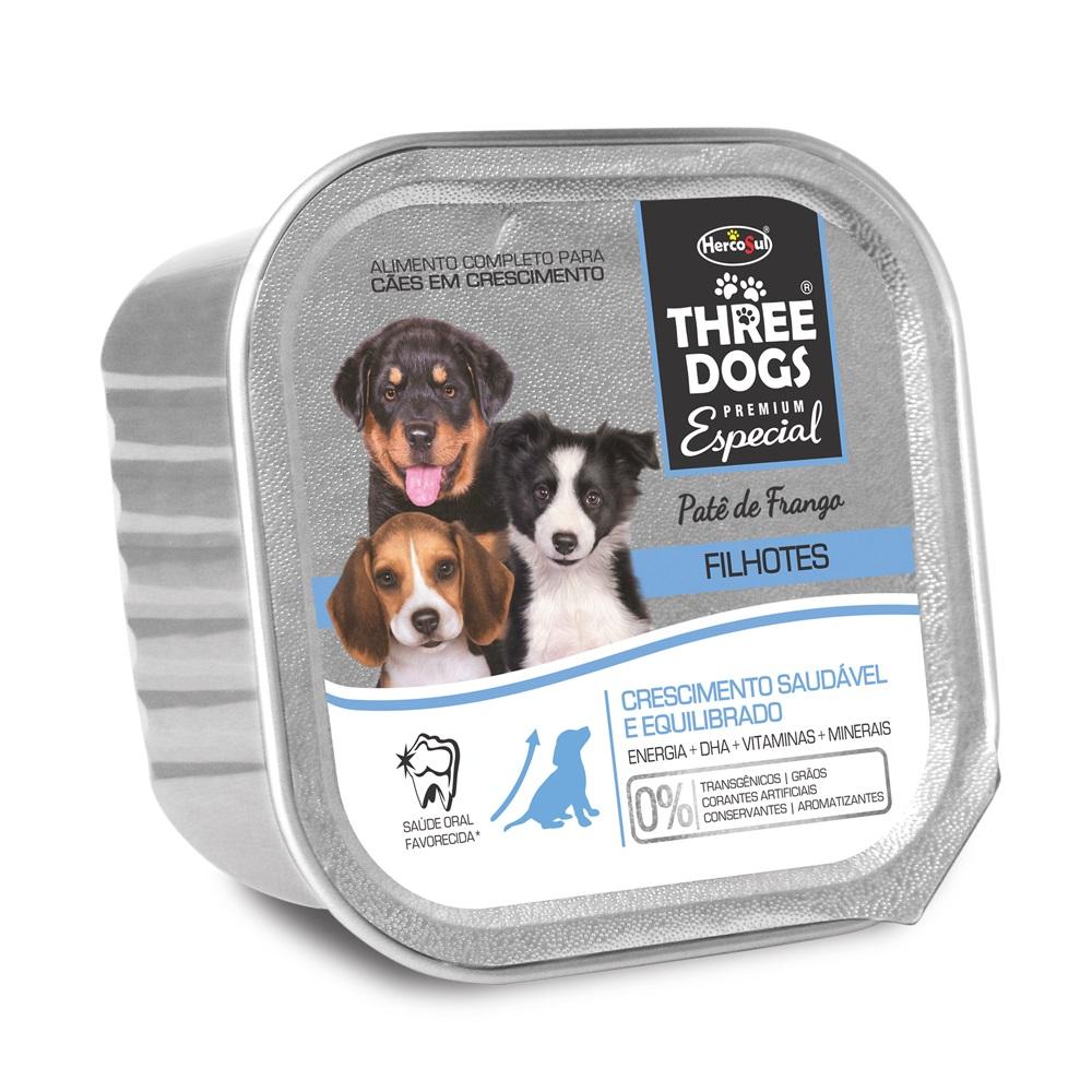 Ração Úmida Three Dogs Patê Sabor Frango para Cães Filhotes - 150g