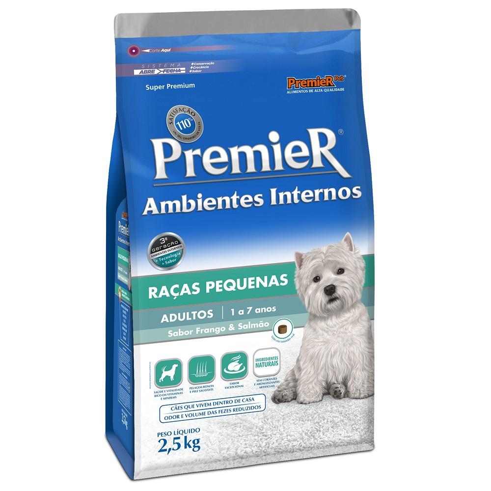 Ração Premier Ambientes Internos para Cães Adultos Raças Pequenas Sabor Frango e Salmão - 2,5 Kg