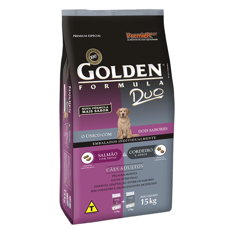 Ração Golden Duo para Cães Adultos Sabor Salmão com Ervas e Cordeiro com Arroz - 15kg