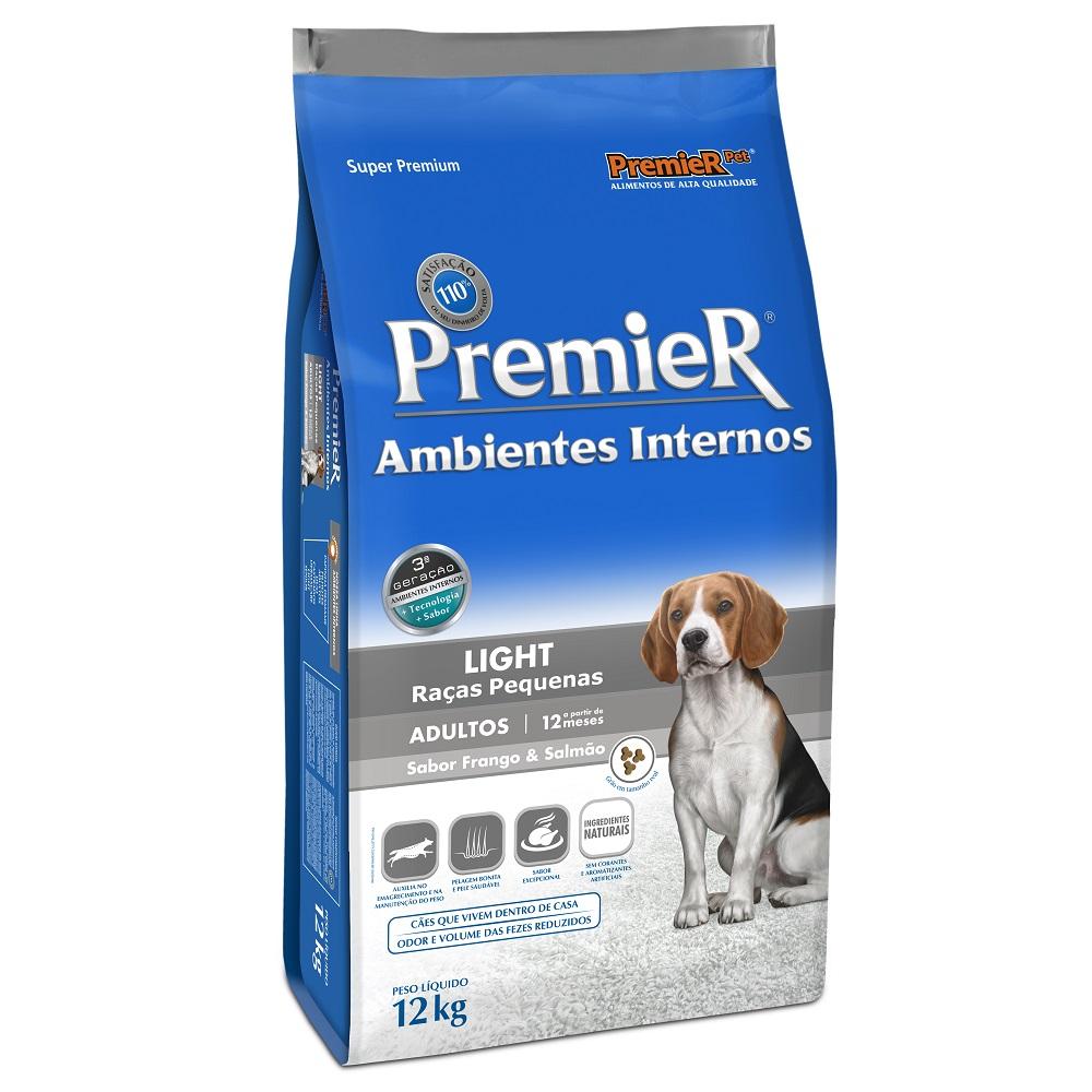 Ração Premier Ambientes Internos Light para Cães Adultos Sabor Frango e Salmão - 12 Kg