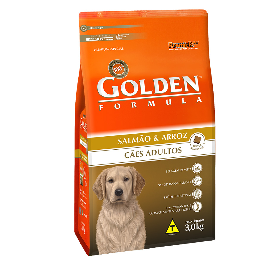 Ração Golden Fórmula Para Cães Adultos Sabor Salmão - 3,0 Kg