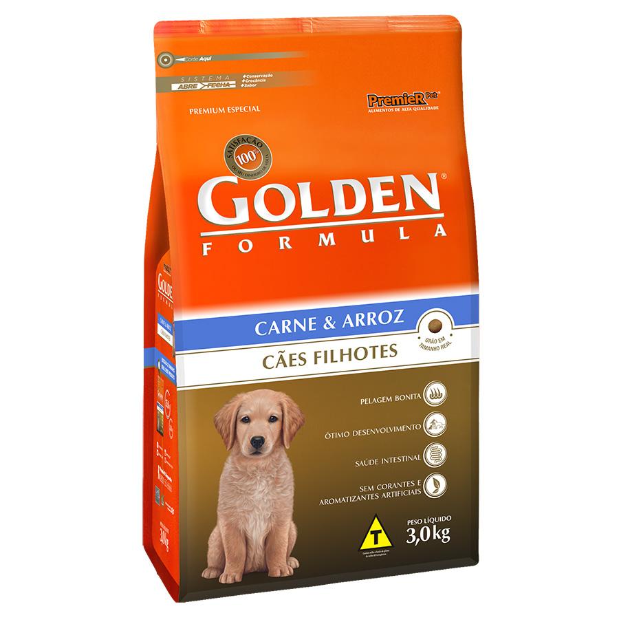Ração Golden Filhote para Cães Sabor Carne e Arroz - 3,0 Kg