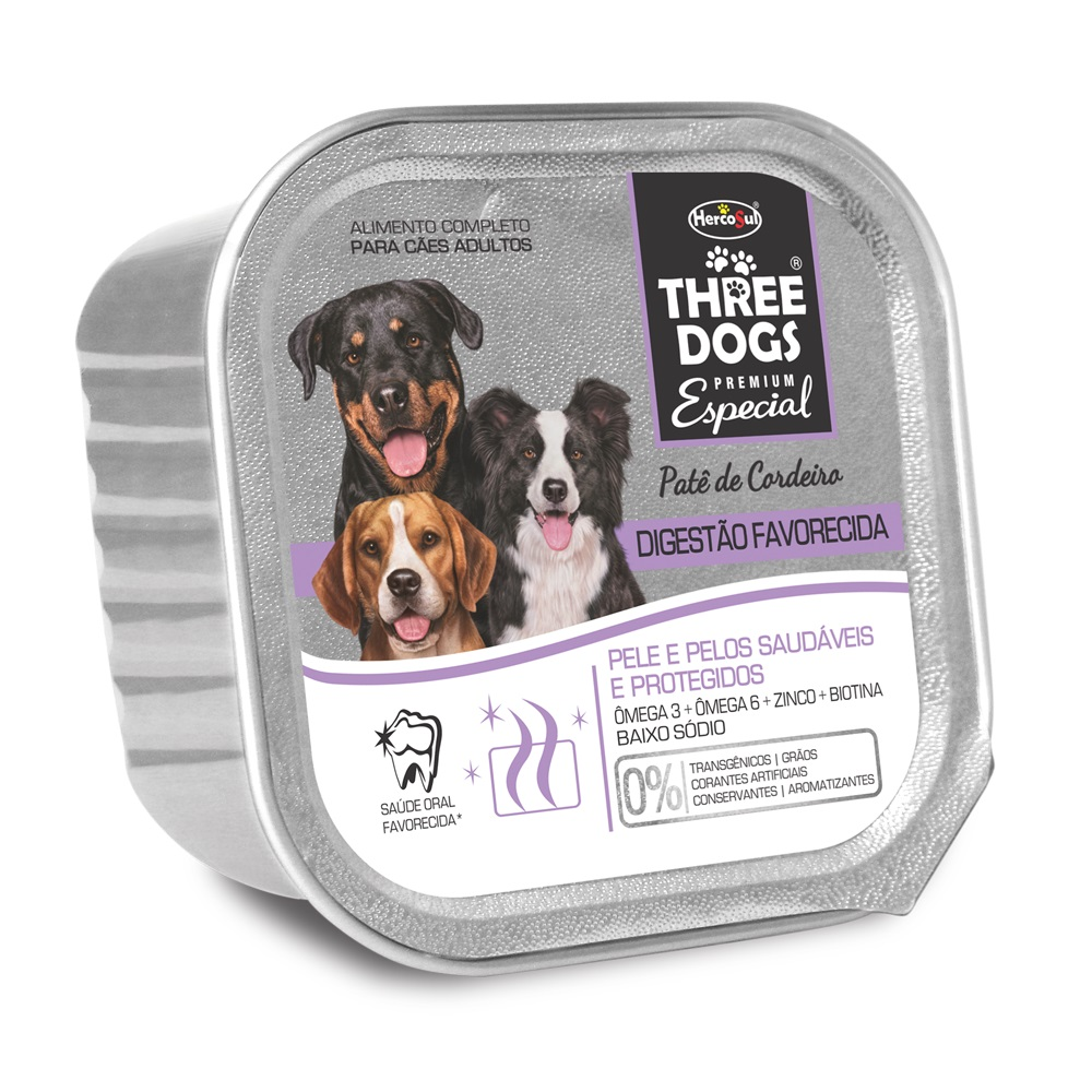 Ração Úmida Three Dogs Patê Digestão Favorecida Sabor Cordeiro para Cães - 150g