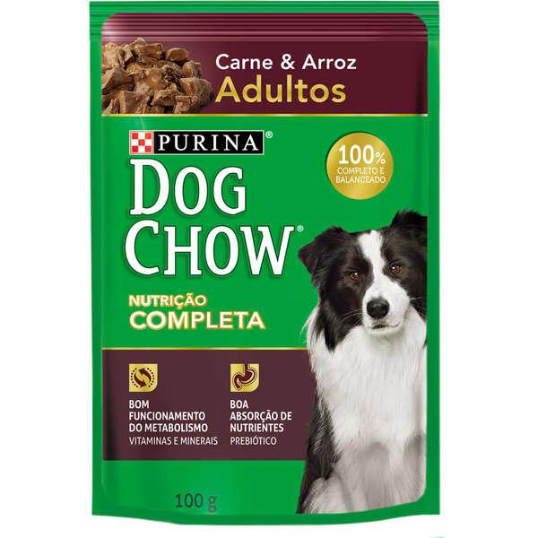 Ração Úmida Purina Dog Chow Sachê para Cães Adultos Sabor Carne e Arroz
