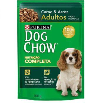 Ração Úmida Purina Dog Chow Sachê para Cães Adultos de Pequeno Porte Sabor Carne e Arroz