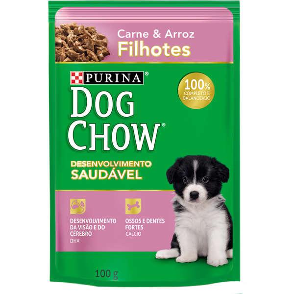 Ração Úmida Purina Dog Chow Sachê para Cães Filhotes Sabor Carne e Arroz