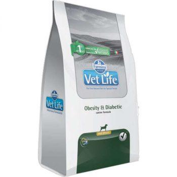 Ração Farmina Vet Life Obesity & Diabetic Mini para Cães Adultos 2 Kg
