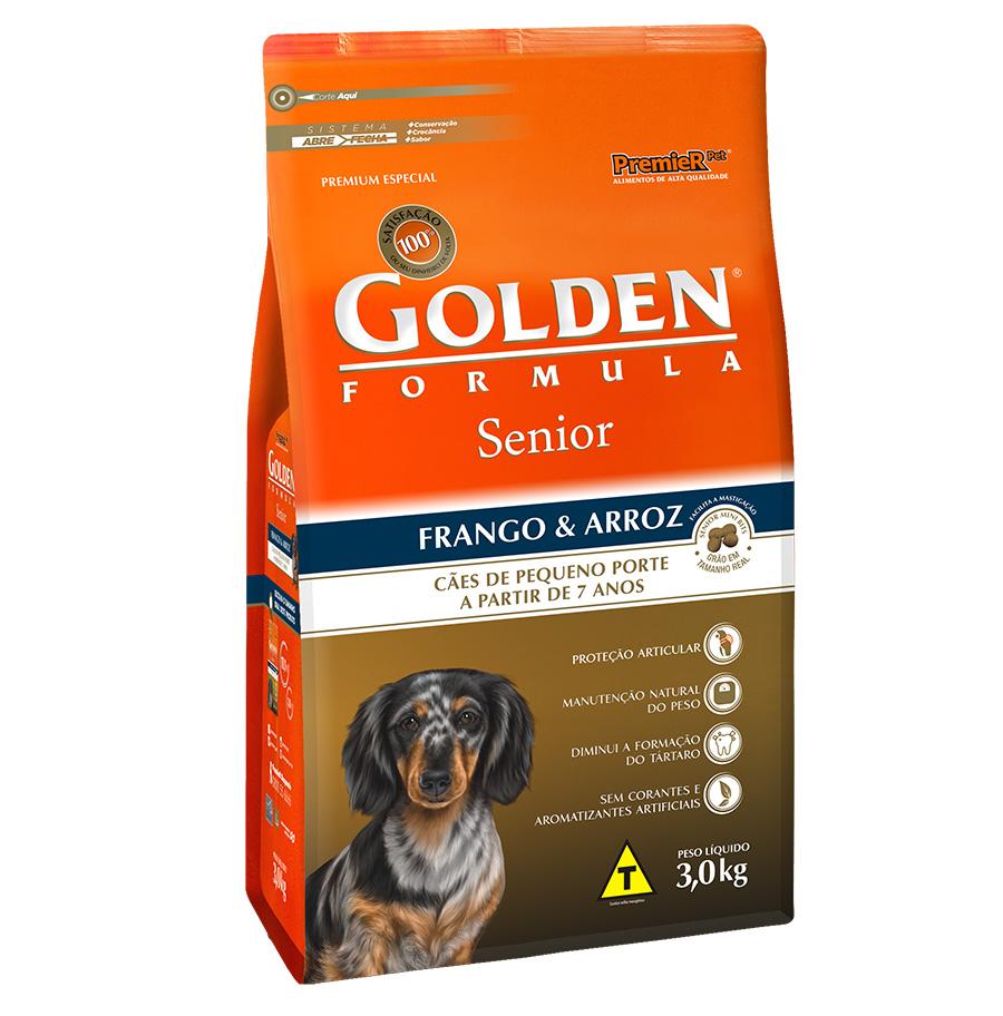 Ração Golden Fórmula Para Cães Senior/Idoso de Pequeno Porte Sabor Frango e Arroz - 3 Kg