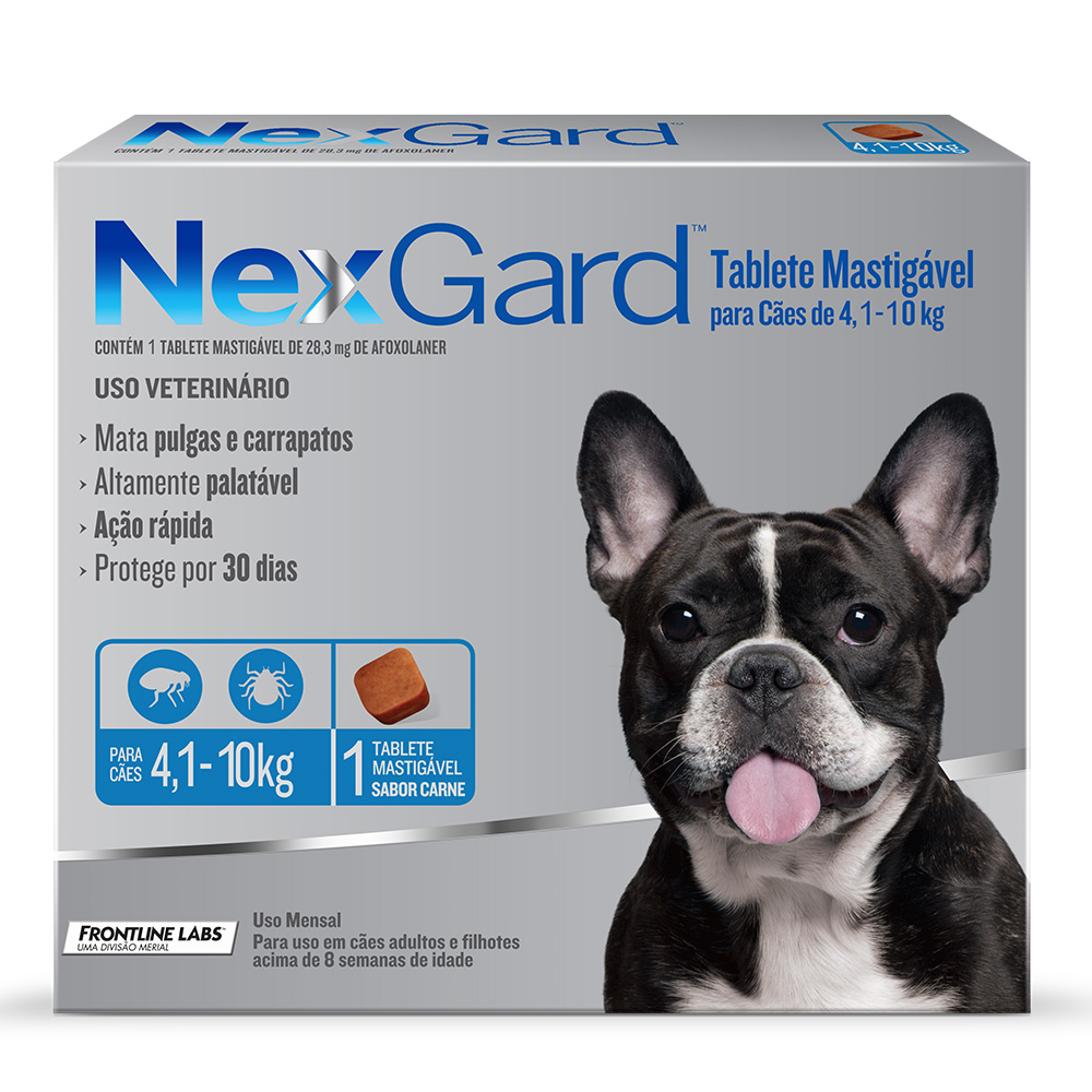 Antipulgas e Carrapatos Merial Nexgard para Cães de 4 a 10 Kg