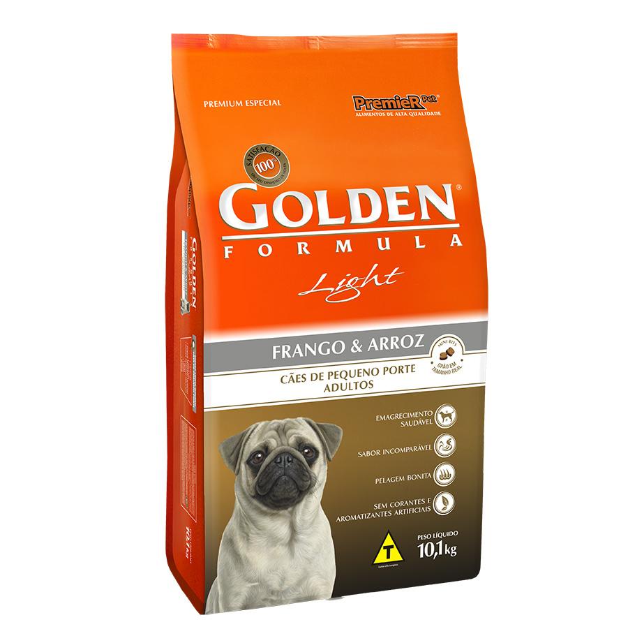 Ração Golden Fórmula Light para Cães Adultos de Pequeno Porte Sabor Frango e Arroz - 10 Kg