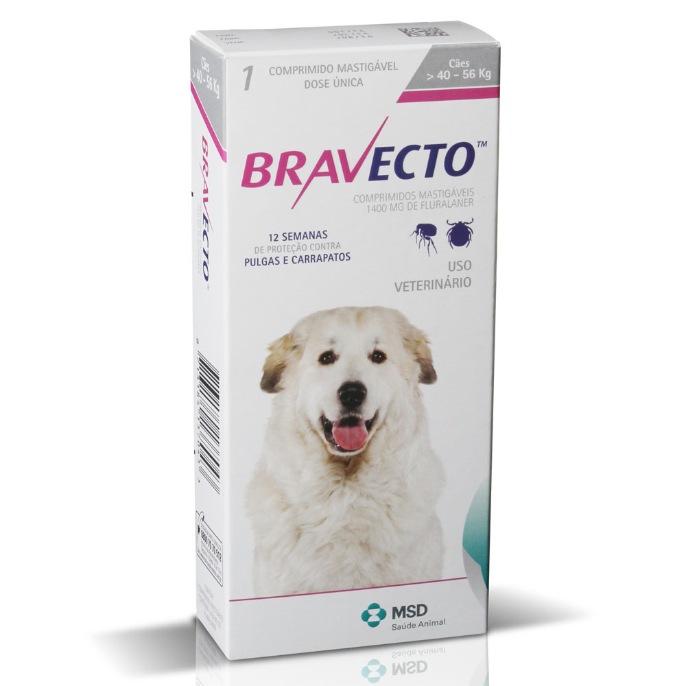 Antipulgas e Carrapatos Bravecto MSD para Cães de 40 á 56 kg