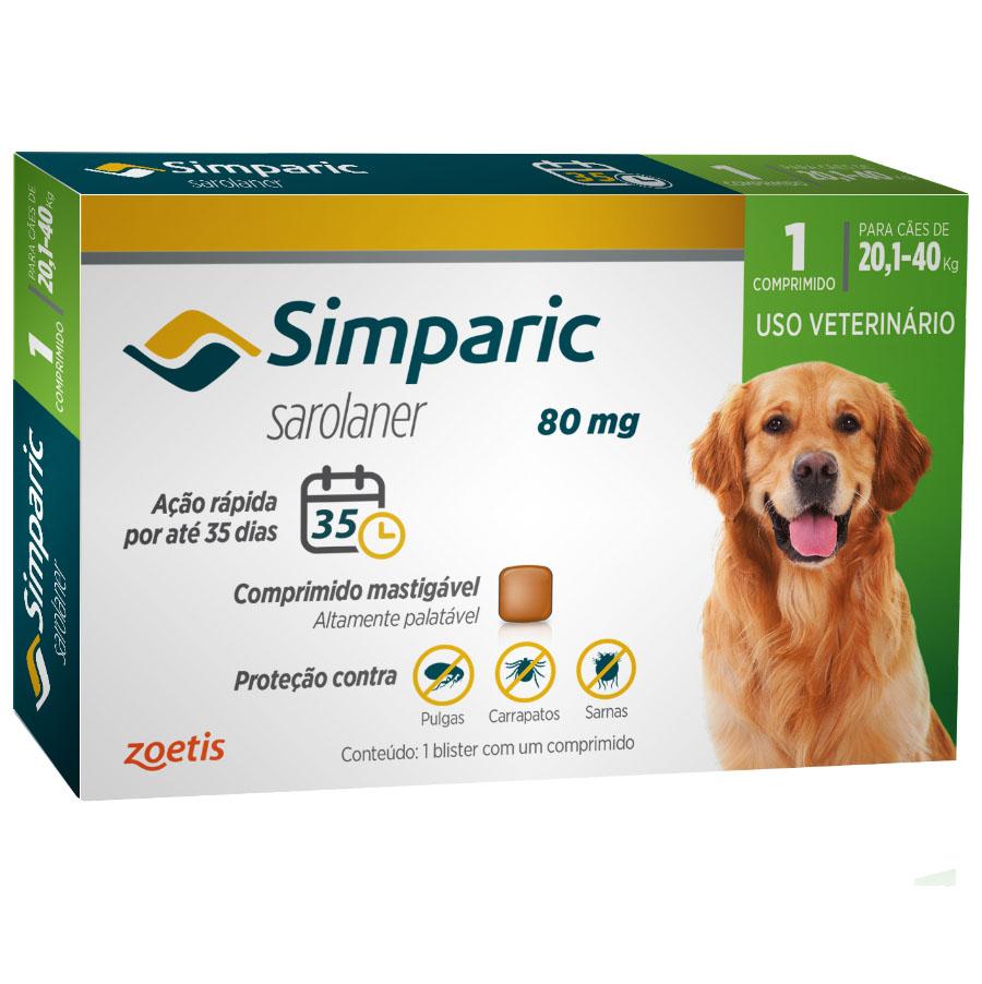 Antipulgas e Carrapatos Simparic 80 mg/20,1 a 40 Kg com 1 comprimido - Zoetis