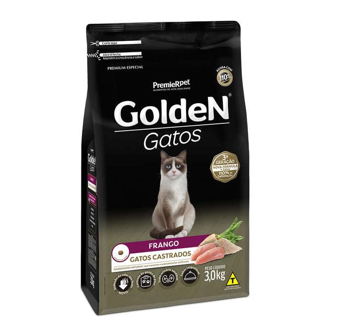 Ração Golden Gatos Adultos Castrados Sabor Frango 3Kg