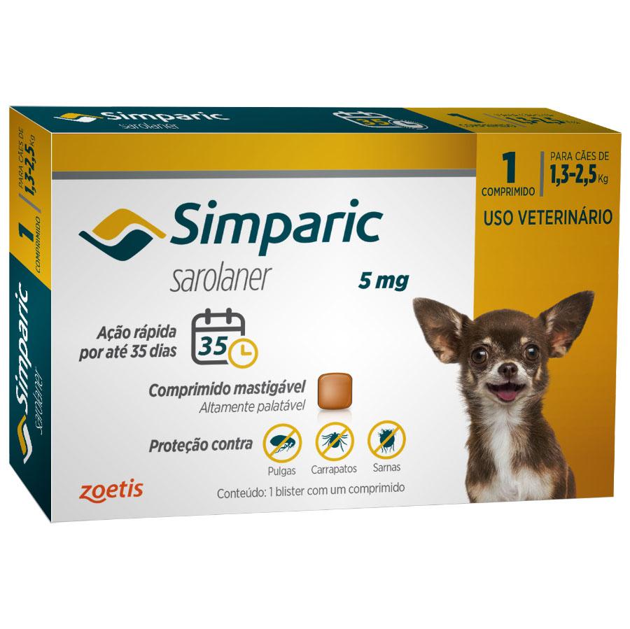 Antipulgas e Carrapatos Simparic 5 mg/1,3 a 2,5 Kg com 1 comprimido - Zoetis