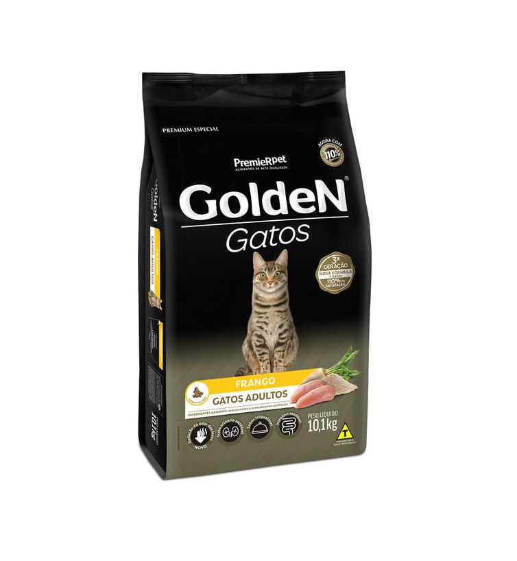 Ração Golden Gatos Adultos Sabor Frango 10,1Kg