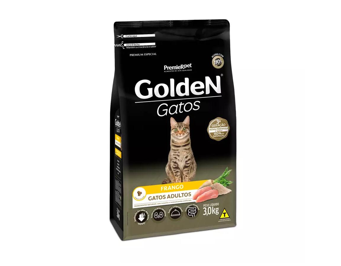 Ração Golden Gatos Adultos Sabor Frango 3Kg