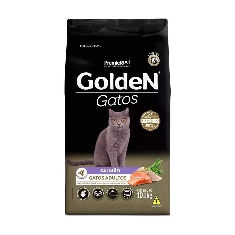 Ração Golden Gatos Adultos Sabor Salmão 10,1Kg