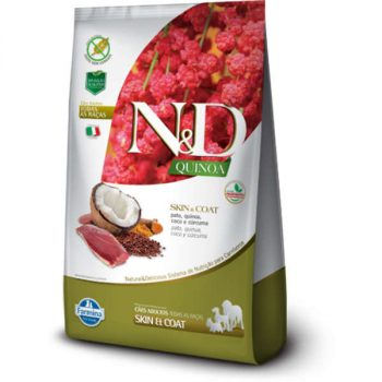 Ração Farmina N&D Quinoa Skin e Coat para Cães Adultos de Todas as Raças Sabor Pato 2,5kg