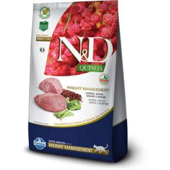 Ração Farmina N&D Quinoa Weight Management para Gatos Adultos Cordeiro 1,5 Kg